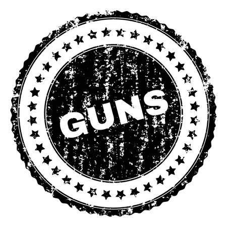 GUNS seal print with distress texture. Black vector rubber print of GUNS caption with corroded texture. Rubber seal imitation has round shape and contains stars.
