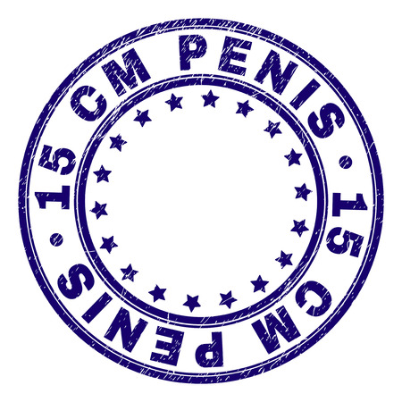15 CM PENIS stamp seal watermark with grunge texture. Designed with round shapes and stars. Blue vector rubber print of 15 CM PENIS title with dirty texture. Illustration