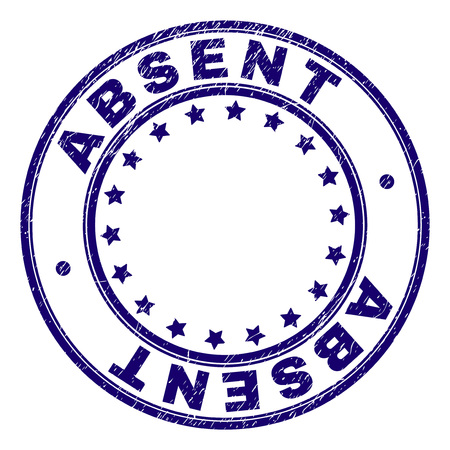 ABSENT stamp seal watermark with grunge texture. Designed with circles and stars. Blue vector rubber print of ABSENT caption with dust texture.