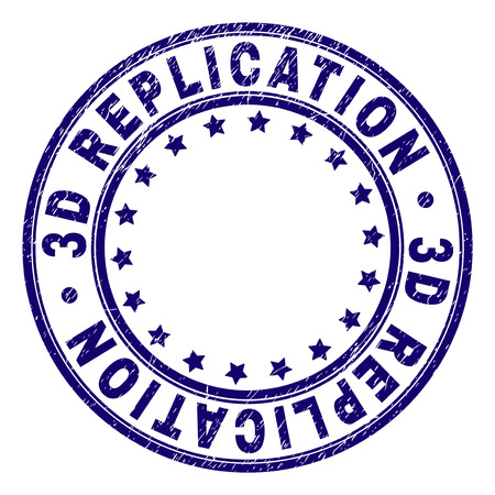 3D REPLICATION stamp seal watermark with grunge texture. Designed with round shapes and stars. Blue vector rubber print of 3D REPLICATION tag with dust texture.