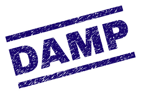 DAMP seal print with distress style. Blue vector rubber print of DAMP tag with dirty texture. Text tag is placed between parallel lines.