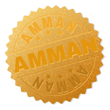 AMMAN gold stamp badge. Vector gold award with AMMAN text. Text labels are placed between parallel lines and on circle. Golden surface has metallic effect.