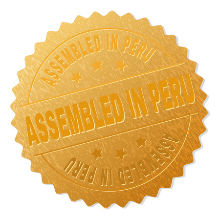 ASSEMBLED IN PERU gold stamp award. Vector golden award with ASSEMBLED IN PERU tag. Text labels are placed between parallel lines and on circle. Golden skin has metallic texture.