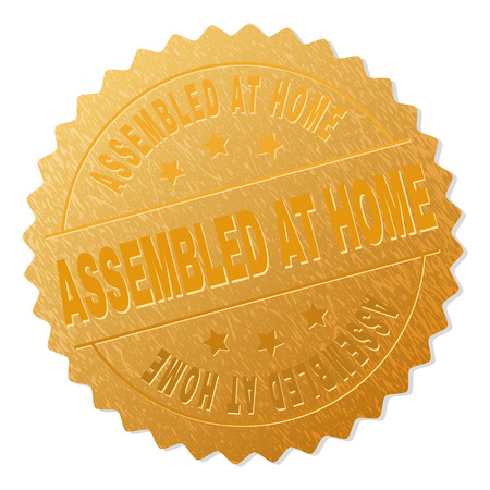 ASSEMBLED AT HOME gold stamp badge. Vector gold award with ASSEMBLED AT HOME text. Text labels are placed between parallel lines and on circle. Golden skin has metallic effect.
