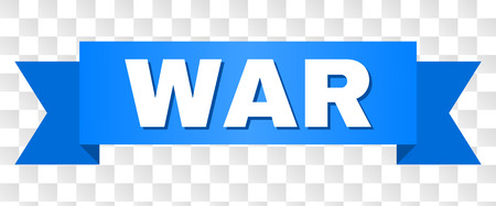 WAR text on a ribbon. Designed with white caption and blue stripe. Vector banner with WAR tag on a transparent background. Illustration