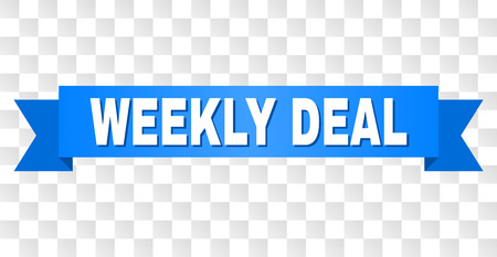 WEEKLY DEAL text on a ribbon. Designed with white caption and blue tape. Vector banner with WEEKLY DEAL tag on a transparent background.