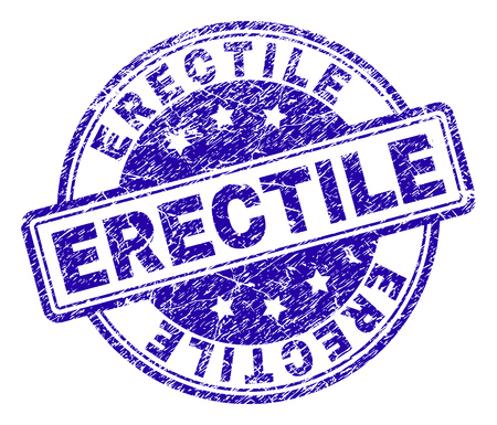 ERECTILE stamp seal watermark with distress texture. Designed with rounded rectangles and circles. Blue vector rubber print of ERECTILE text with dirty texture.