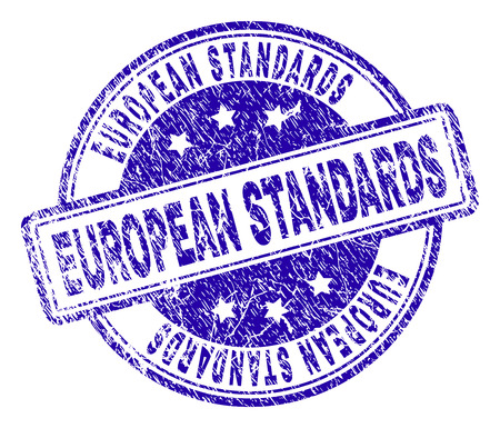 EUROPEAN STANDARDS stamp seal imprint with grunge texture. Designed with rounded rectangles and circles. Blue vector rubber print of EUROPEAN STANDARDS text with dust texture. Illustration