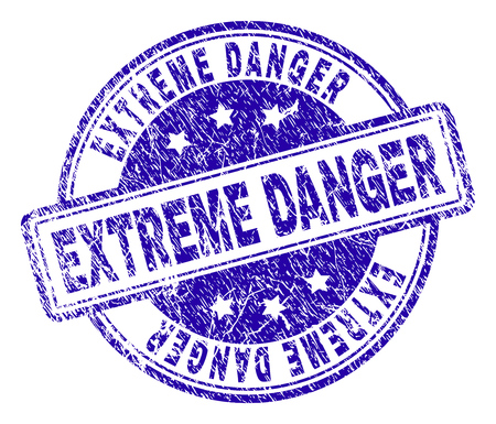 EXTREME DANGER stamp seal watermark with grunge texture. Designed with rounded rectangles and circles. Blue vector rubber print of EXTREME DANGER tag with dirty texture.