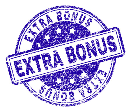 EXTRA BONUS stamp seal imprint with grunge texture. Designed with rounded rectangles and circles. Blue vector rubber print of EXTRA BONUS label with grunge texture.