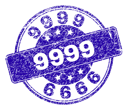 9999 stamp seal imprint with distress style. Designed with rounded rectangle and circles. Blue vector rubber watermark of 9999 caption with corroded style.