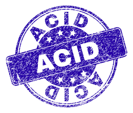 ACID stamp seal watermark with grunge style. Designed with rounded rectangle and circles. Blue vector rubber watermark of ACID title with corroded style.