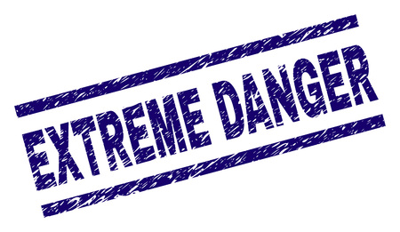 EXTREME DANGER seal watermark with scratced style. Blue vector rubber print of EXTREME DANGER tag with dust texture. Text tag is placed between parallel lines.