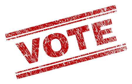 VOTE seal print with corroded texture. Red vector rubber print of VOTE title with grunge texture. Text title is placed between double parallel lines. Illustration