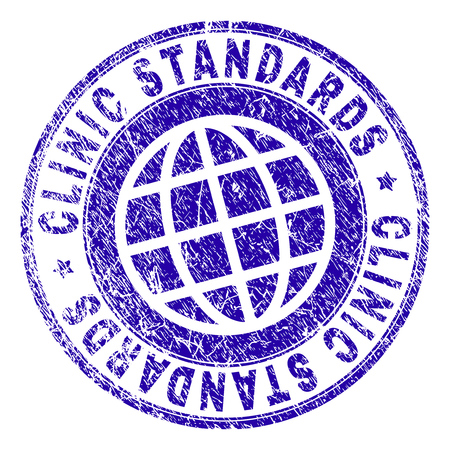 CLINIC STANDARDS stamp imprint with grunge effect. Blue vector rubber seal imprint of CLINIC STANDARDS label with dirty texture. Seal has words arranged by circle and planet symbol. Illustration