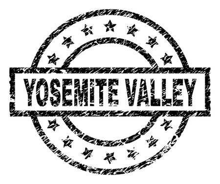 YOSEMITE VALLEY stamp seal watermark with distress style. Designed with rectangle, circles and stars. Black vector rubber print of YOSEMITE VALLEY text with dust texture.