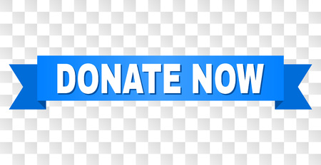 DONATE NOW text on a ribbon. Designed with white title and blue stripe. Vector banner with DONATE NOW tag on a transparent background. Vettoriali