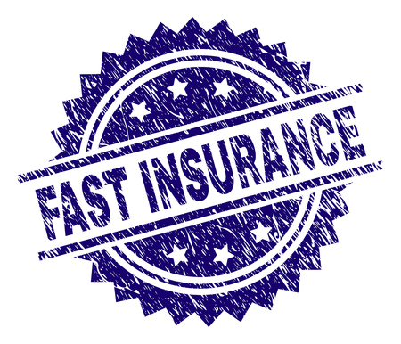 FAST INSURANCE stamp seal watermark with distress style. Blue vector rubber print of FAST INSURANCE title with unclean texture.