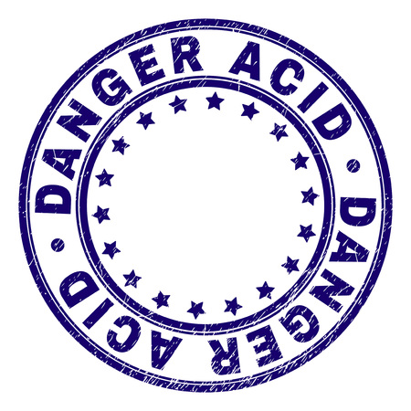 DANGER ACID stamp seal watermark with grunge texture. Designed with circles and stars. Blue vector rubber print of DANGER ACID tag with grunge texture.