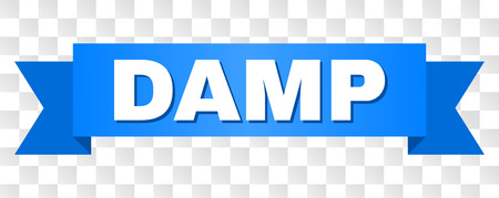 DAMP text on a ribbon. Designed with white caption and blue tape. Vector banner with DAMP tag on a transparent background.