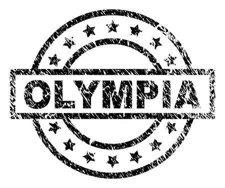 OLYMPIA stamp seal watermark with distress style. Designed with rectangle, circles and stars. Black vector rubber print of OLYMPIA title with grunge texture. Illustration