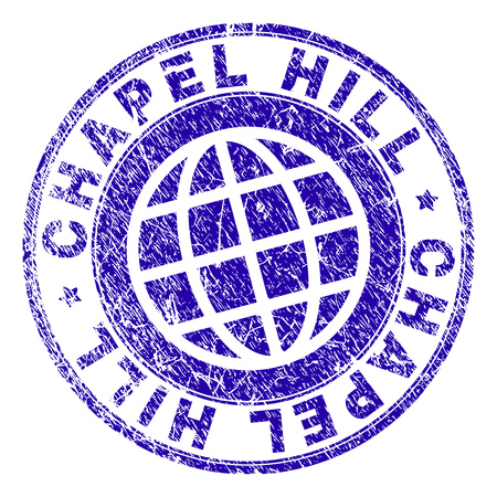 CHAPEL HILL stamp imprint with grunge texture. Blue vector rubber seal imprint of CHAPEL HILL label with retro texture. Seal has words arranged by circle and planet symbol.