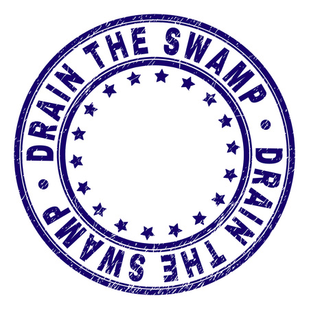 DRAIN THE SWAMP stamp seal watermark with grunge texture. Designed with round shapes and stars. Blue vector rubber print of DRAIN THE SWAMP caption with corroded texture. Illustration