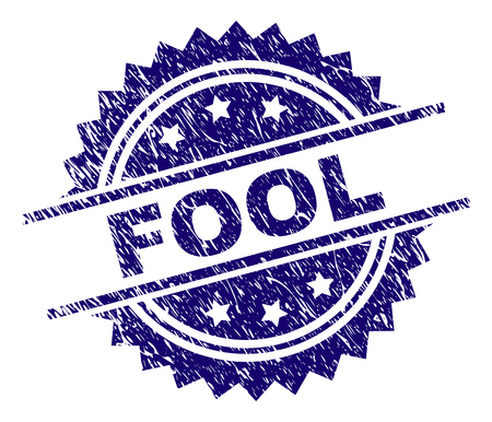 FOOL stamp seal watermark with distress style. Blue vector rubber print of FOOL title with scratched texture.