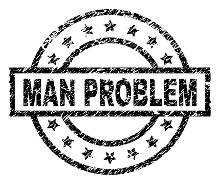 MAN PROBLEM stamp seal watermark with distress style. Designed with rectangle, circles and stars. Black vector rubber print of MAN PROBLEM tag with scratched texture.