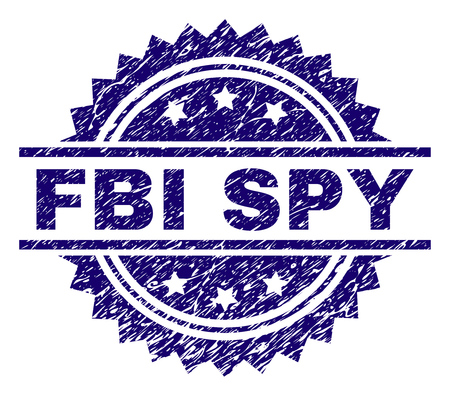 FBI SPY stamp seal watermark with distress style. Blue vector rubber print of FBI SPY label with corroded texture.