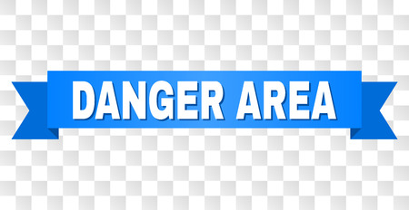 DANGER AREA text on a ribbon. Designed with white caption and blue tape. Vector banner with DANGER AREA tag on a transparent background.