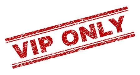 VIP ONLY seal print with distress texture. Red vector rubber print of VIP ONLY tag with corroded texture. Text tag is placed between double parallel lines.