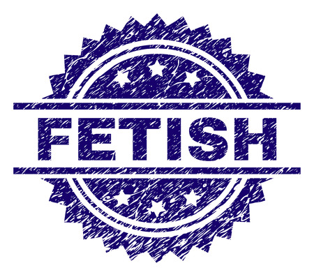 FETISH stamp seal watermark with distress style. Blue vector rubber print of FETISH title with scratched texture. Standard-Bild