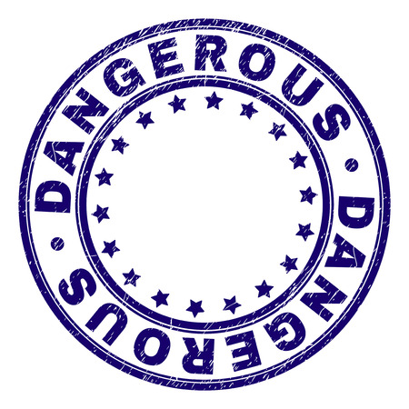 DANGEROUS stamp seal imprint with grunge texture. Designed with round shapes and stars. Blue vector rubber print of DANGEROUS caption with grunge texture. 向量圖像
