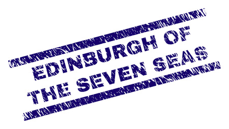 EDINBURGH OF THE SEVEN SEAS seal print with scratced style. Blue vector rubber print of EDINBURGH OF THE SEVEN SEAS text with grunge texture. Text title is placed between parallel lines. Vettoriali