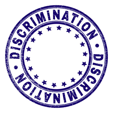 DISCRIMINATION stamp seal watermark with grunge texture. Designed with round shapes and stars. Blue vector rubber print of DISCRIMINATION text with scratched texture. Illustration