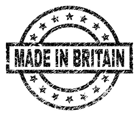 MADE IN BRITAIN stamp seal watermark with distress style. Designed with rectangle, circles and stars. Black vector rubber print of MADE IN BRITAIN label with scratched texture.