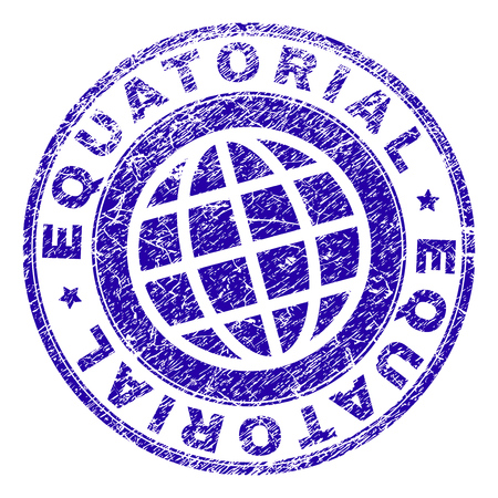 EQUATORIAL stamp imprint with distress texture. Blue vector rubber seal imprint of EQUATORIAL text with scratched texture. Seal has words arranged by circle and globe symbol.