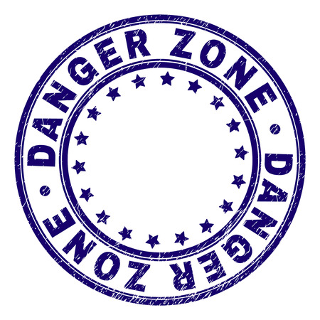 DANGER ZONE stamp seal imprint with grunge texture. Designed with round shapes and stars. Blue vector rubber print of DANGER ZONE caption with grunge texture.