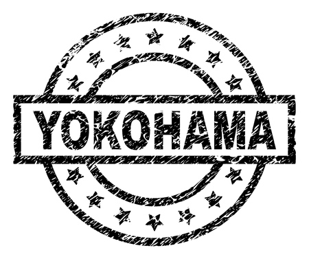 YOKOHAMA stamp seal watermark with distress style. Designed with rectangle, circles and stars. Black vector rubber print of YOKOHAMA caption with dirty texture.