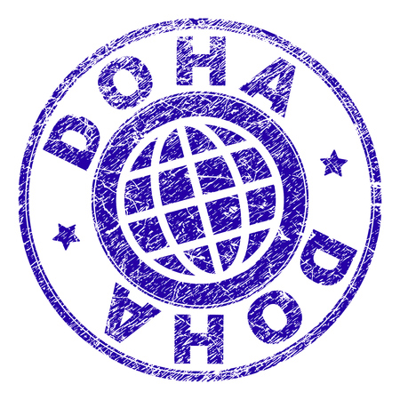 DOHA stamp print with distress texture. Blue vector rubber seal print of DOHA title with corroded texture. Seal has words placed by circle and globe symbol. Illustration