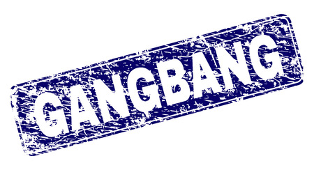 GANGBANG stamp seal print with grunge style. Seal shape is a rounded rectangle with frame. Blue vector rubber print of GANGBANG text with unclean style.