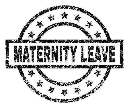 MATERNITY LEAVE stamp seal watermark with distress style. Designed with rectangle, circles and stars. Black vector rubber print of MATERNITY LEAVE text with scratched texture. Stock Illustratie