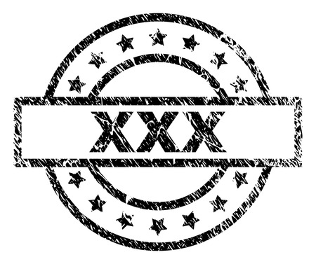 XXX stamp seal watermark with distress style. Designed with rectangle, circles and stars. Black vector rubber print of XXX text with grunge texture. Illustration