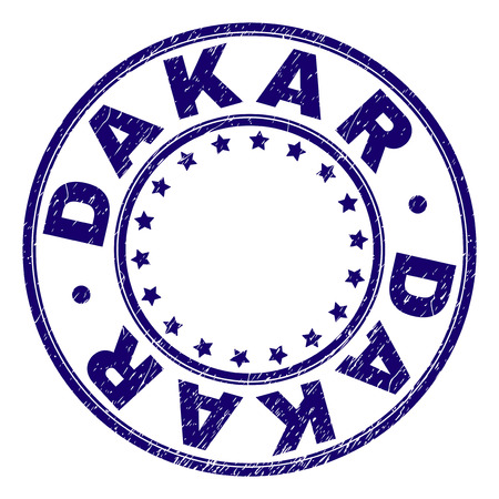 DAKAR stamp seal watermark with grunge texture. Designed with round shapes and stars. Blue vector rubber print of DAKAR caption with unclean texture.