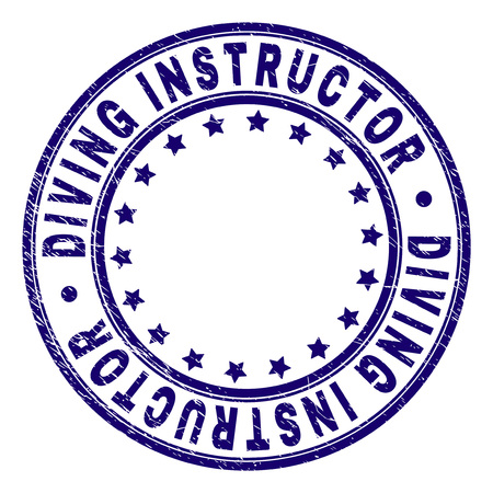 DIVING INSTRUCTOR stamp seal imprint with distress texture. Designed with circles and stars. Blue vector rubber print of DIVING INSTRUCTOR text with dust texture. Vektorové ilustrace