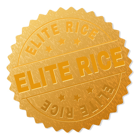ELITE RICE gold stamp reward. Vector gold award with ELITE RICE text. Text labels are placed between parallel lines and on circle. Golden surface has metallic structure.