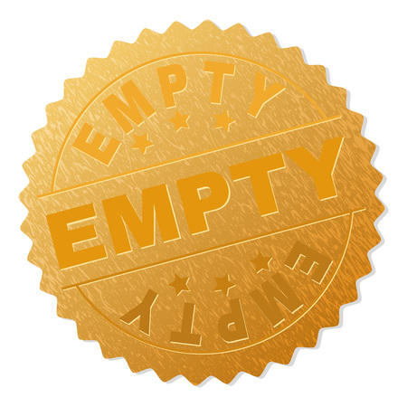 EMPTY gold stamp badge. Vector gold award with EMPTY text. Text labels are placed between parallel lines and on circle. Golden skin has metallic texture.