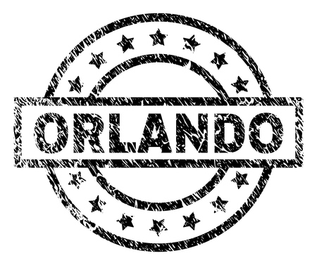 ORLANDO stamp seal watermark with distress style. Designed with rectangle, circles and stars. Black vector rubber print of ORLANDO label with dust texture.
