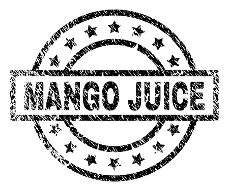 MANGO JUICE stamp seal watermark with distress style. Designed with rectangle, circles and stars. Black vector rubber print of MANGO JUICE caption with corroded texture.